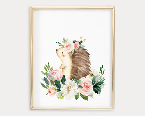 Watercolor Boho Flower Crown Hedgehog Printable Wall Art, Digital Download