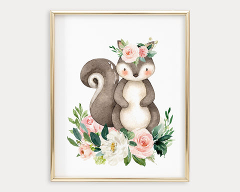 Watercolor Boho Flower Crown Squirrel Printable Wall Art, Digital Download