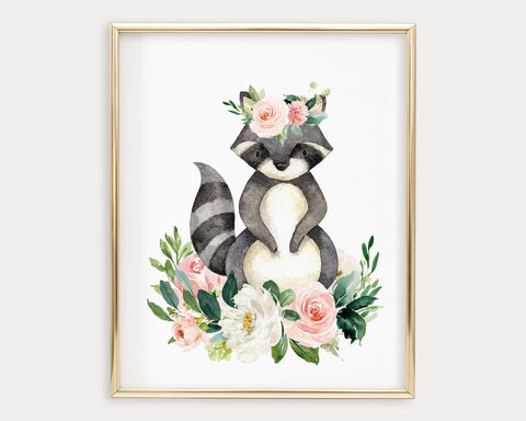 Watercolor Boho Flower Crown Raccoon Printable Wall Art, Digital Download