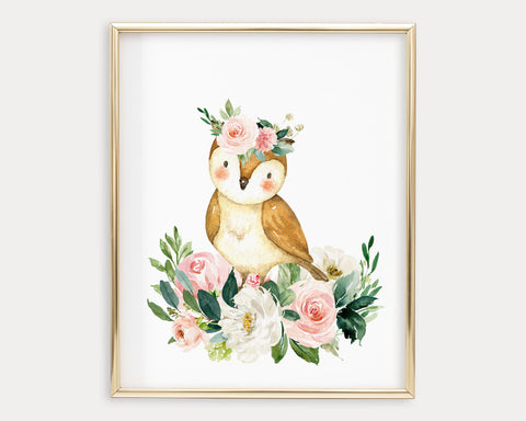 Watercolor Boho Flower Crown Owl Printable Wall Art, Digital Download