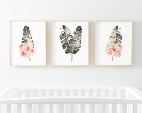 Watercolor Floral Palm Leaf Set of 3 Printable Wall Art, Digital Download