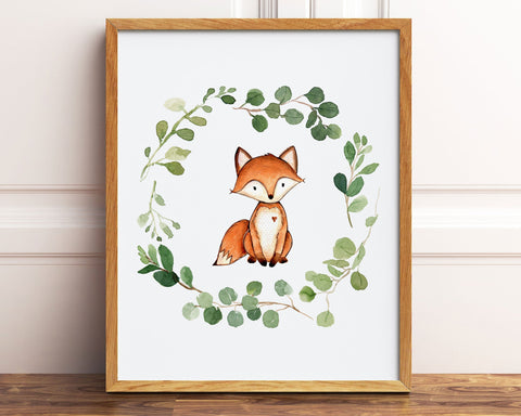 Watercolor Greenery Wreath Fox Printable Wall Art, Digital Download