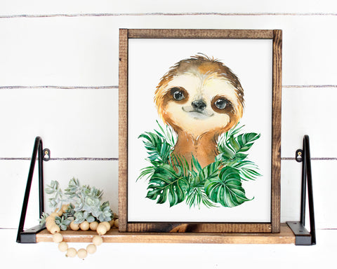 Safari Sloth Jungle Printable Wall Art, Digital Download