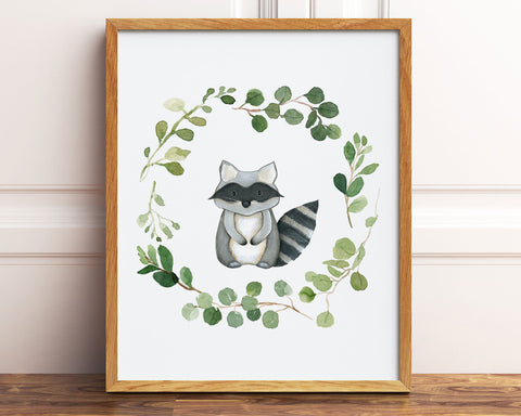 Watercolor Greenery Wreath Raccoon Printable Wall Art, Digital Download