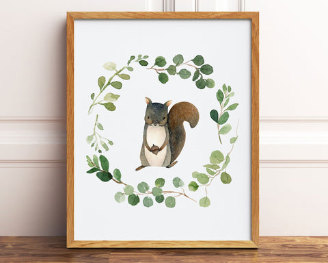 Watercolor Greenery Wreath Squirrel Printable Wall Art, Digital Download