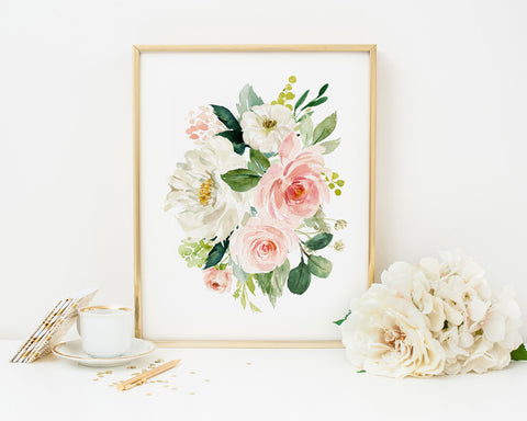 Watercolor Peony Printable Wall Art, Digital Download