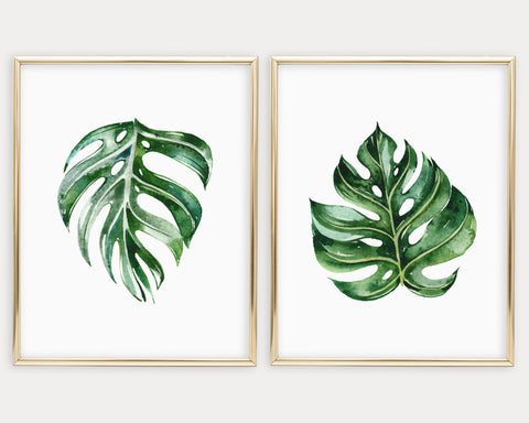 Monstera Leaf Set of 2 Printable Wall Art, Digital Download