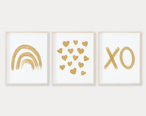 Mustard Rainbow Hearts and XO Printable Wall Art Set of 3, Digital Download