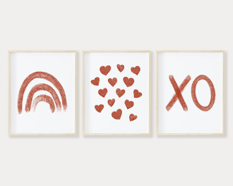 Rust Rainbow Hearts and XO Printable Wall Art Set of 3, Digital Download