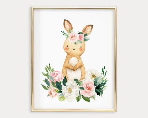 Watercolor Boho Flower Crown Bunny Rabbit Printable Wall Art, Digital Download
