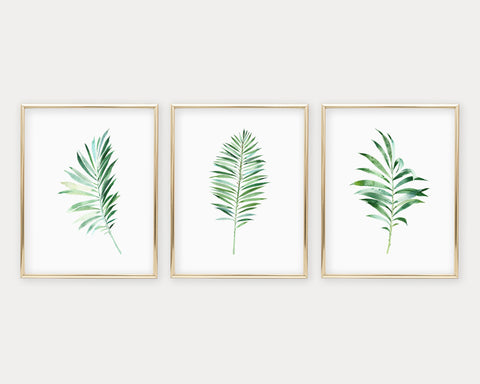 Botanical Palm Leaf Set of 3 Printable Wall Art, Digital Download
