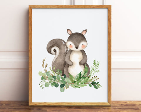 Watercolor Squirrel Greenery Printable Wall Art, Digital Download