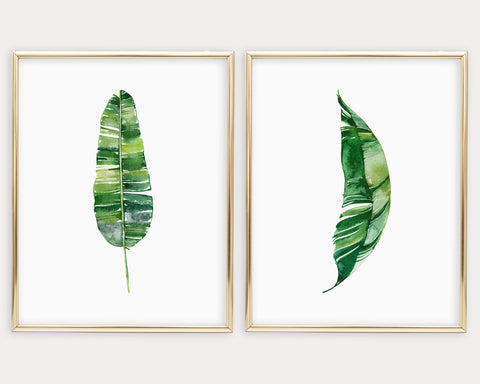 Watercolor Botanical Set of 2 Printable Wall Art, Digital Download