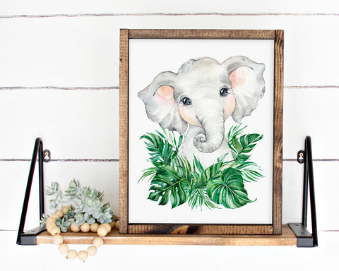 Safari Elephant Jungle Printable Wall Art, Digital Download