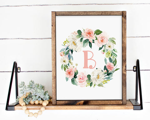 Watercolor Blush Floral Initial B Printable Wall Art, Digital Download