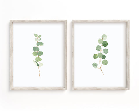 Watercolor Eucalyptus Set of 2 Printable Wall Art, Digital Download