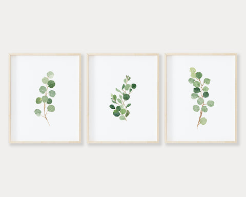 Watercolor Eucalyptus Set of 3 Printable Wall Art, Digital Download