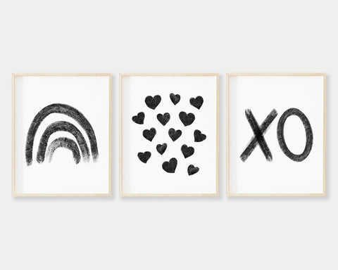 Black Rainbow Hearts and XO Printable Wall Art Set of 3, Digital Download