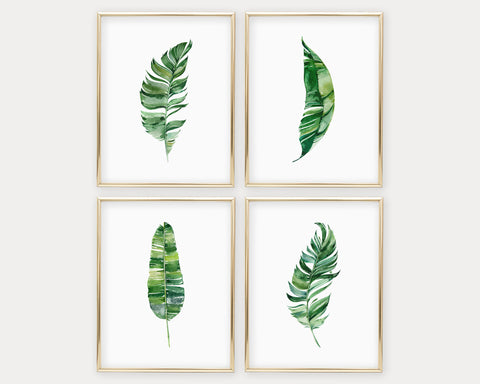 Watercolor Botanical Set of 4 Printable Wall Art, Digital Download