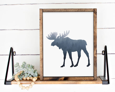Foggy Blue Forest Moose Silhouette Printable Wall Art, Digital Download