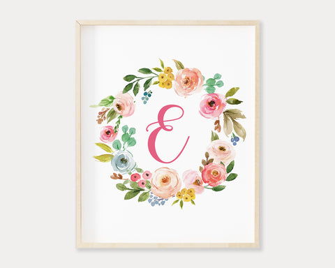 Watercolor Floral Wreath Letter E Monogram Printable Wall Art, Digital Download