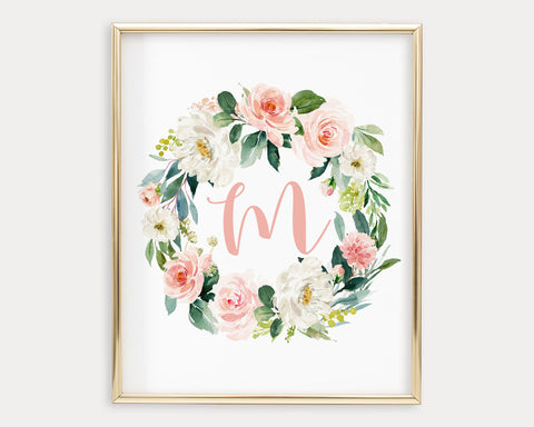 Watercolor Blush Floral Letter M Printable Wall Art, Digital Download