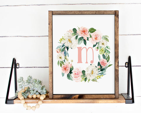 Watercolor Blush Floral Initial M Printable Wall Art, Digital Download