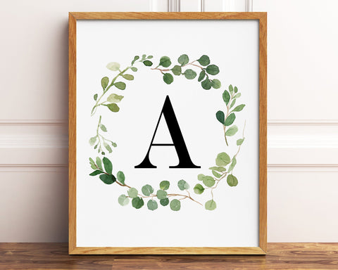 Greenery Letter A Printable Wall Art, Digital Download