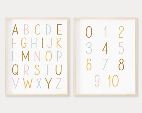 Alphabet and Numbers Printable Wall Art Set of 2, Digital Download