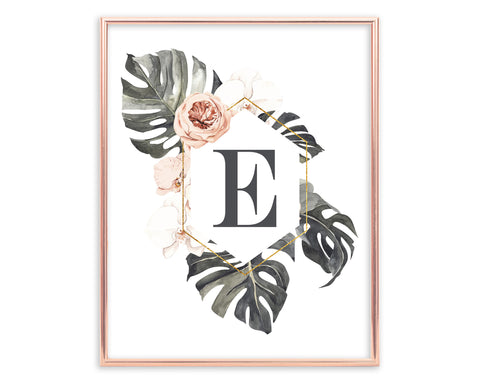 Tropical Floral Letter E Monogram Printable Wall Art, Digital Download