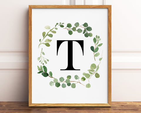 Greenery Letter T Printable Wall Art, Digital Download