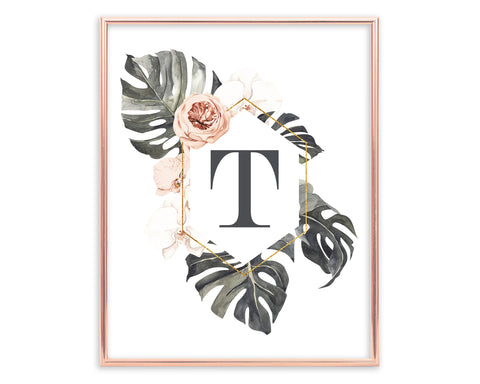 Tropical Floral Letter T Monogram Printable Wall Art, Digital Download