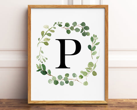 Greenery Letter P Printable Wall Art, Digital Download