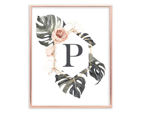 Tropical Floral Letter P Monogram Printable Wall Art, Digital Download
