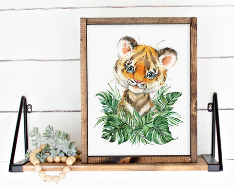 Safari Tiger Jungle Printable Wall Art, Digital Download