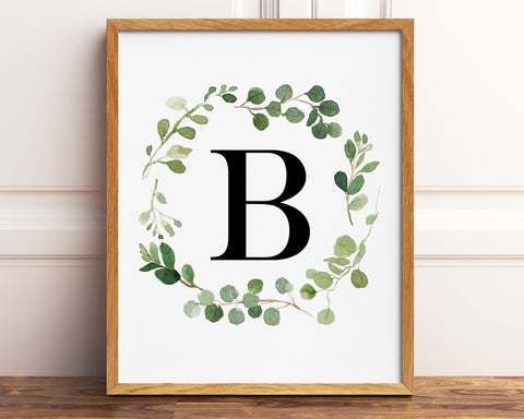 Greenery Letter B Printable Wall Art, Digital Download