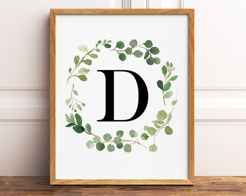 Greenery Letter D Printable Wall Art, Digital Download