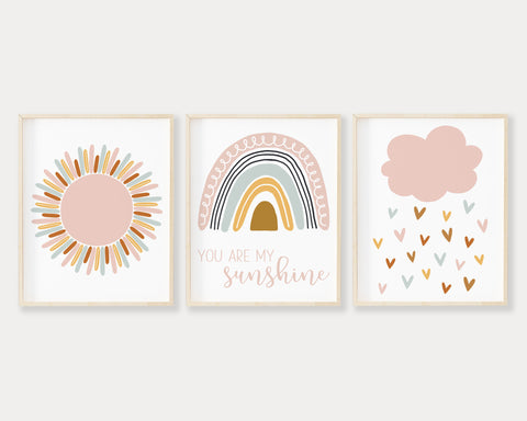 Pink Sun, Pastel Rainbow You Are My Sunshine and Pink Cloud Raining Hearts Printable Wall Art, Digital Download