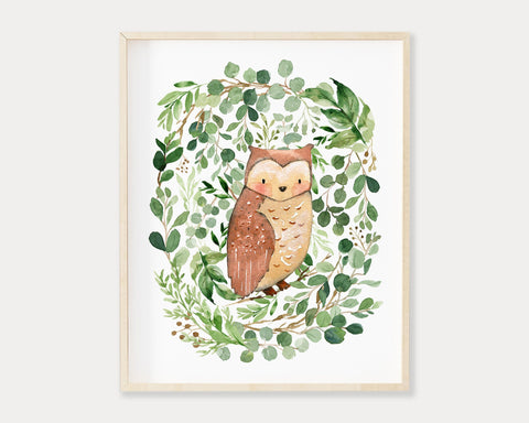 Watercolor Greenery Owl Printable Wall Art, Digital Download