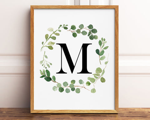 Greenery Letter M Printable Wall Art, Digital Download