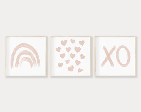 Blush Pink Rainbow Hearts and XO SQUARE Printable Wall Art Set of 3, Digital Download