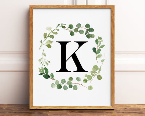Greenery Letter K Printable Wall Art, Digital Download