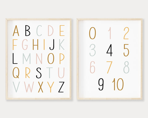 ABC 123 Printable Wall Art, Digital Download