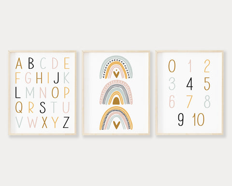 ABC 123 Rainbow Printable Wall Art, Digital Download