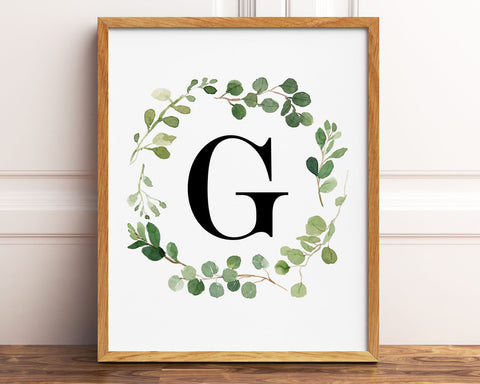Greenery Letter G Printable Wall Art, Digital Download