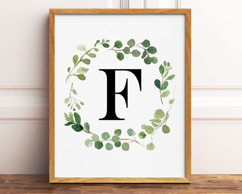 Greenery Letter F Printable Wall Art, Digital Download