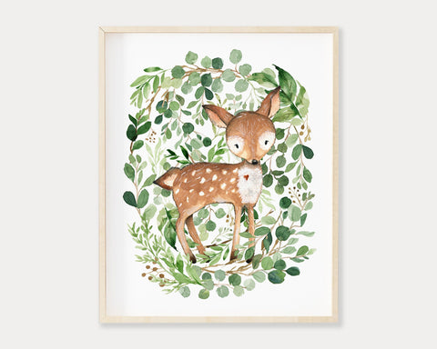 Watercolor Greenery Deer Printable Wall Art, Digital Download