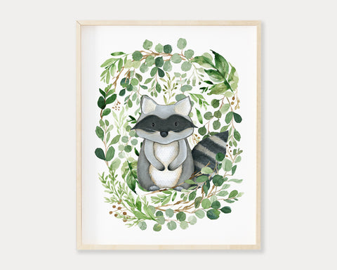 Watercolor Greenery Raccoon Printable Wall Art, Digital Download