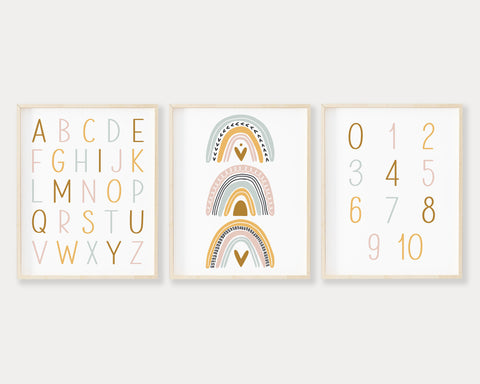 ABC 123 Pastel Rainbow Printable Wall Art, Digital Download