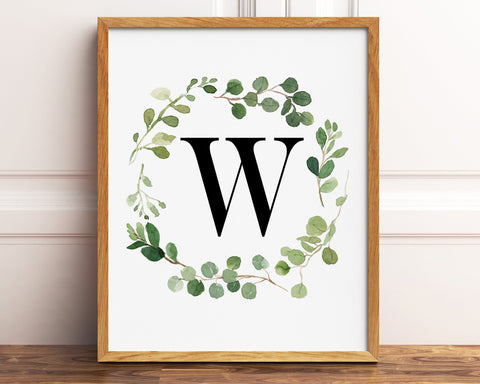 Greenery Letter W Printable Wall Art, Digital Download